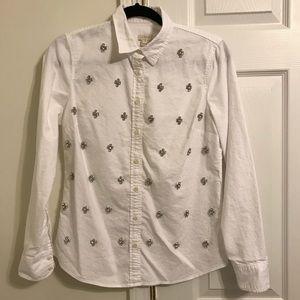 J Crew jeweled button down shirt
